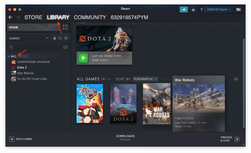 Find Steam Games in Library