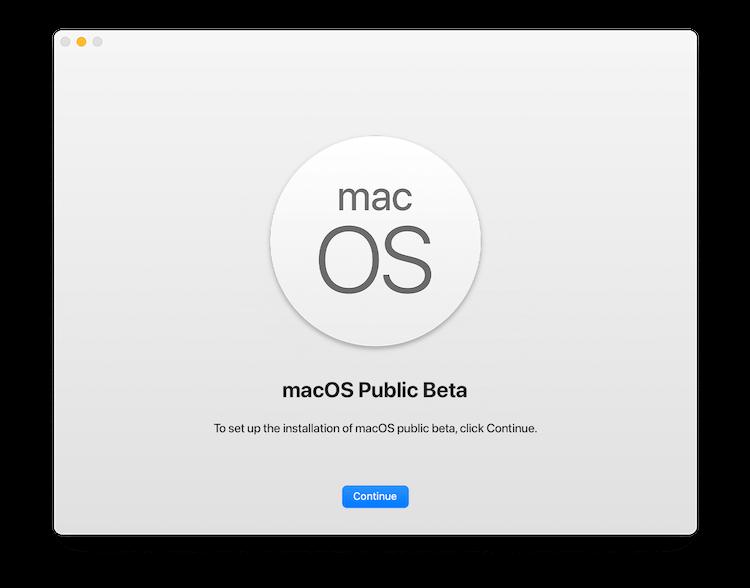 Install macOS Public Beta