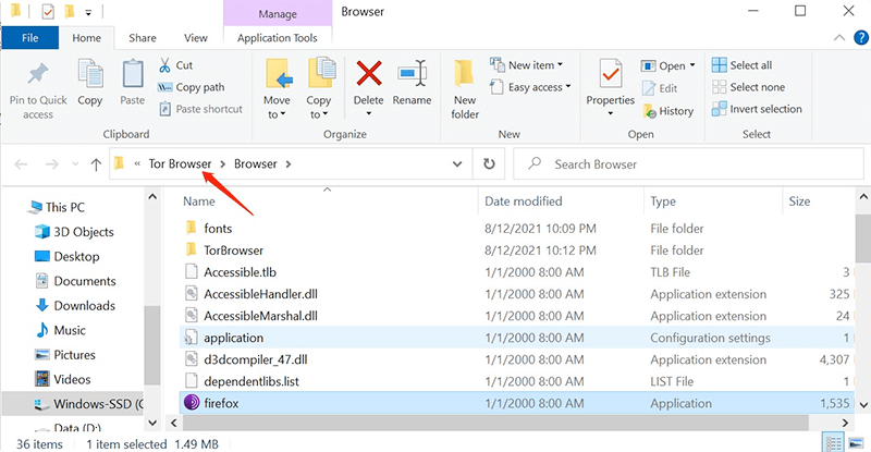 Locate Tor Browser Folder on Windows 10