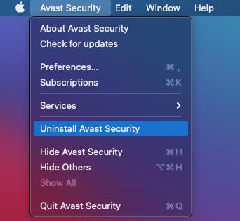 Uninstall Avast Security on Mac