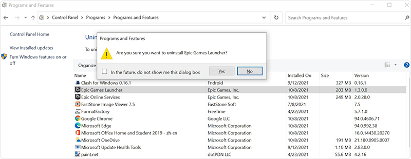 Uninstall Epic Games Launcher on Windows 10
