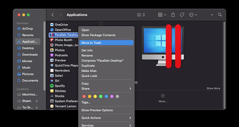 Uninstall Parallels Desktop App