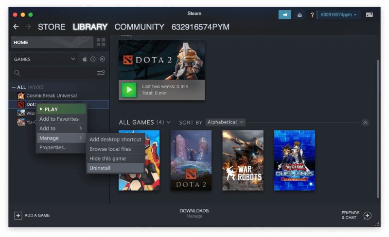 Uninstall Steam Games with Library