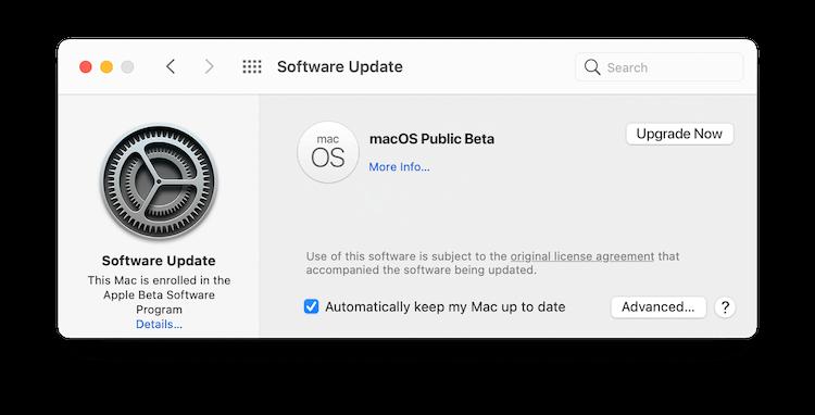 Upgrade to macOS Public Beta